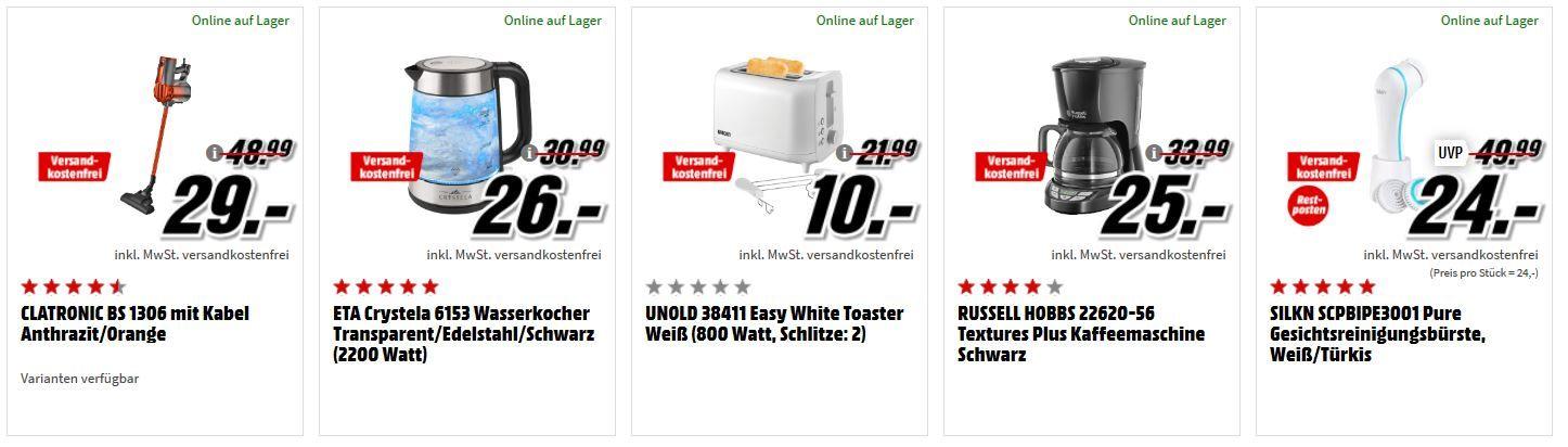 MM Haushaltsgeräte & Zubehör Sale: z.B. REMINGTON D 2400 Haartrockner (1400 Watt) für 11€ (statt 18€)