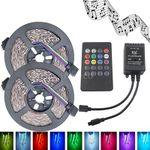 2x 5m LED Streifen mit 300 LEDs (SMD3528) & RGB-Controller inkl. Fernbedienung für 7,77€