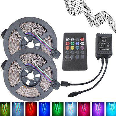 2x 5m LED Streifen mit 300 LEDs (SMD3528) & RGB Controller inkl. Fernbedienung für 7,77€