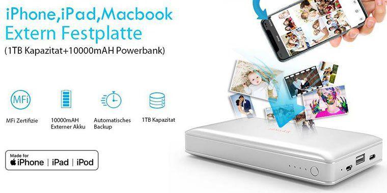 2in1 iDiskk Powerbank (10.000mAh) & 1TB externe HDD (MFi zertifiziert) mit USB 3.0 für 90,99€ (statt 130€)