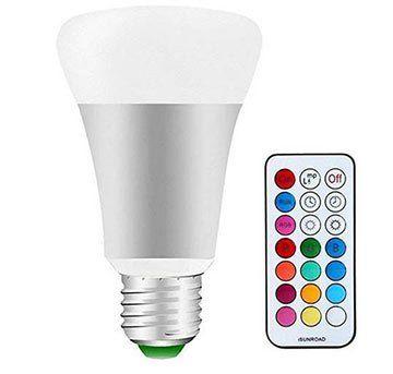 Dimmbare LED RGB Glühbirne (E27) mit 10W inkl. Fernbedienung für 4,04€   Prime