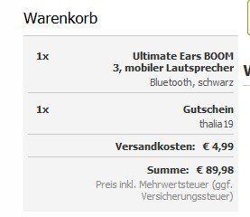 Ultimate Ears Boom 3 Bluetooth Lautsprecher für 89,95€ (statt 128€)