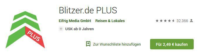 Blitzer.de PLUS App für Android 2,49€ oder iOS für 0,49€