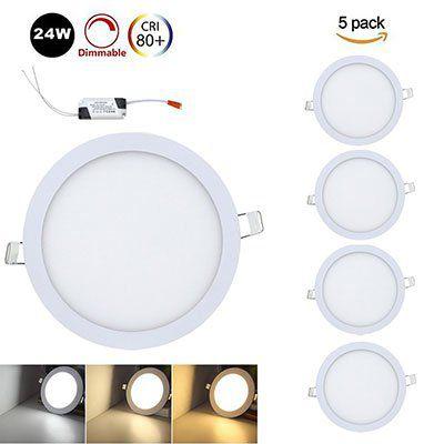 VINGO 5x24W LED Einbauleuchten in rund oder eckig ab 31,49€