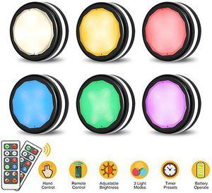 6er Pack: LED Nacht  bzw. Schranklicht mit Fernbedienung 4 Farben & 3 Modi für 11,39€   Prime