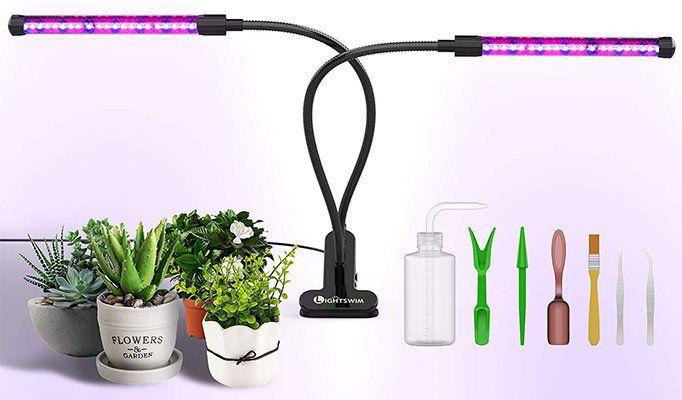 Doppelkopf Pflanzenlampe mit 46 LEDs + 7tlg Pflanzenset für 13,99€ (statt 28€)