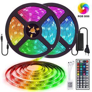 2x 5M LED Streifen mit 300 5050SMD LEDs inkl. Fernbedienung, Adapter & Kontrolleinheit für 14,99€   Prime