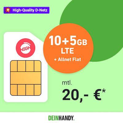 High SimOnly Tarif im Netz der Telekom   z.B. 10GB LTE25 für nur 15€ mtl.