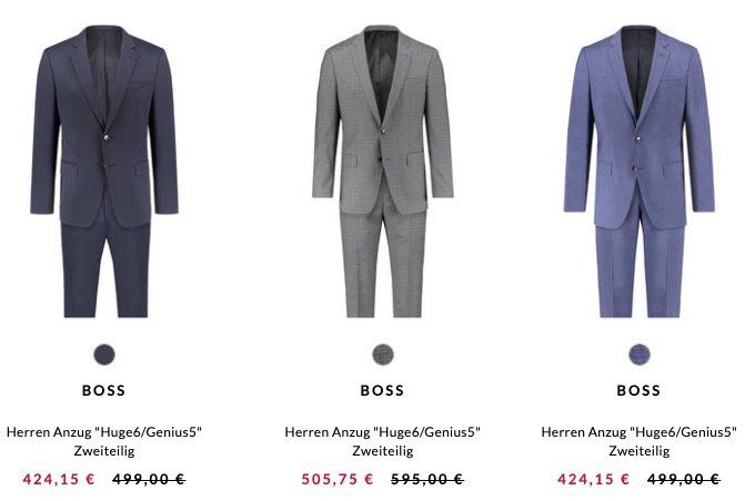 Hugo Boss Huge6 / Genius5 Herren Anzug 2 teilig ab 419,15€ (statt 499€)