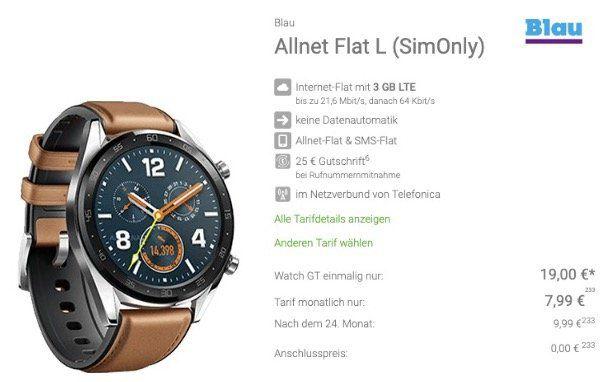 Huawei Watch GT Classic für nur 19€ + o2 Allnet Flat von Blau mit 3GB LTE für nur 7,99€mtl.