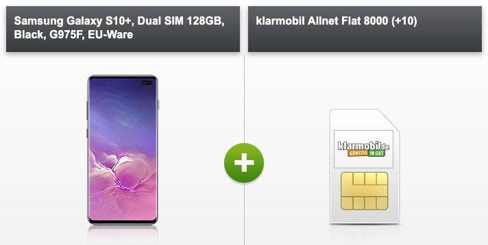 Samsung Galaxy S10+ mit 128GB für 29€ + Vodafone Allnet Flat von klarmobil mit 8GB für 39,99€ mtl.