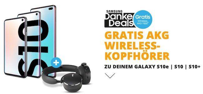 TOP! Samsung Galaxy S10e + AKG Y500 wireless Kopfhörer nur 4,95€ (Wert 140€) + o2 Free M 10GB LTE   29,99€ mtl.