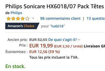 8er Pack Philips Sonicare HX6018/07 Ersatzbürsten für 23,90€(statt 30€)