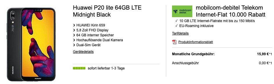 Huawei P20 lite für 49€ + Telekom 10GB LTE Datentarif für 15,99€ mtl.
