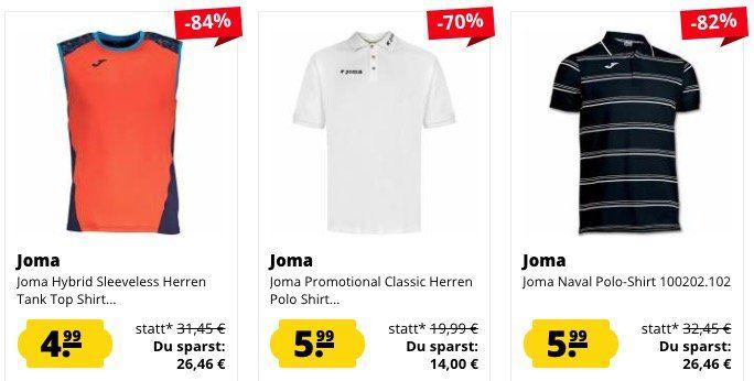 Joma Restposten Sale ab 3,99€   z.B. Funktionsshirt nur 4,99€(statt 19€)