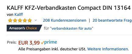 Wieder da! Kalff KFZ Verbandkasten Compact DIN 13164 mit Erste Hilfe Broschüre ab 3,99€ (statt 9€)