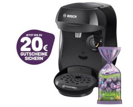 Bosch TASSIMO Kapsel Maschine + MILKA Schokolade für 29,99€ (statt 35€) + 20€ Guthaben