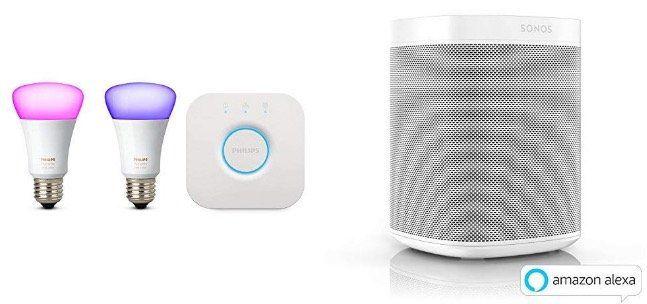 Sonos One 2. Gen mit Philips Hue White und Color Ambiance Set + Bridge für 285,99€ (statt 336€)