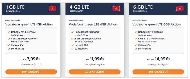 Vodafone Green LTE Tarife von mobilcom   1GB für 7,99€   4GB für 11,99€   6GB für 14,99€