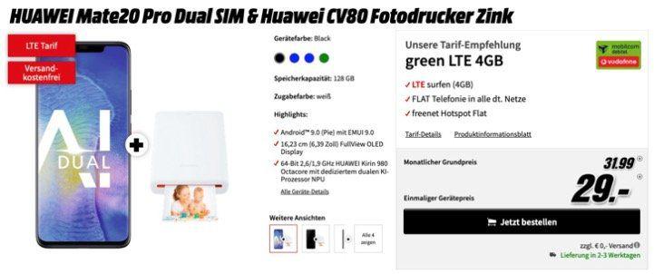 Huawai Mate20 Pro + CV80 Fotodrucker für 29€ mit Allnet Flat im Vodafone Netz mit 4GB LTE für 31,99€ mtl.