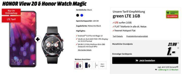 Honor View 20 Smartphone + Honor Watch Magic für 1€ inkl. Vodafone Allnet Flat mit 1GB LTE für 21,99€ mtl.