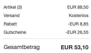 eBay: kauf 3, zahl 2 auf ausgewählte Produkte   z.B. 30er Pack Fruit of the Loom Shirts für 53€ (statt 90€)