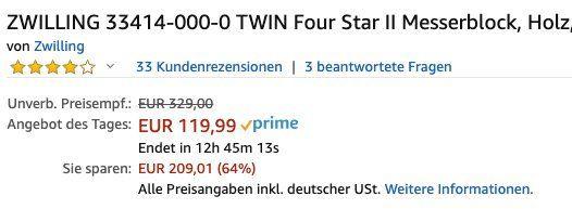 Zwilling Twin Four Star II Messerblock 7 tlg. in Natur für 119,99€ (statt 190€)