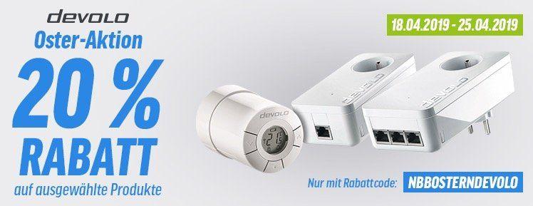 20% Rabatt auf Netzwerk Produkte von devolo   z.B. devolo dLAN 1000 duo+ Starter Kit für 64€ (statt 80€)