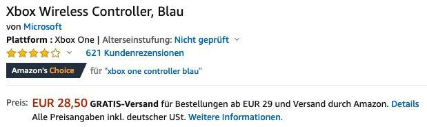 🔥 Microsoft Xbox One Controller in Blau für nur 28,50€ bei Prime (statt 54€)