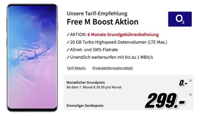 Samsung Galaxy S10 für 299€ + o2 Free M mit 20GB LTE für 34,99€   6 Monate keine Grundgebühr!