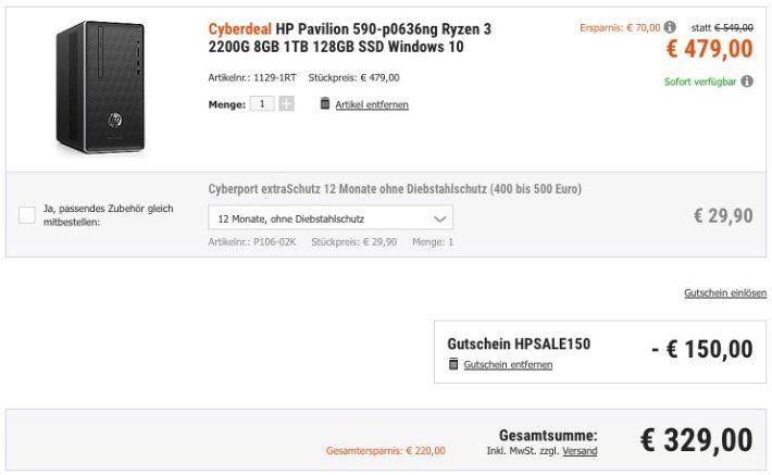 HP Pavilion 590 p0636ng mit 8GB, 1TB mit 128GB SSD und Win10 für 329€ (statt 480€)