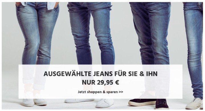 Marken Jeans von Mustang, Levis und Co. für 29,95€ + keine VSK + 20% Gutschein   z.B. Wrangler Jeans für 23,96€