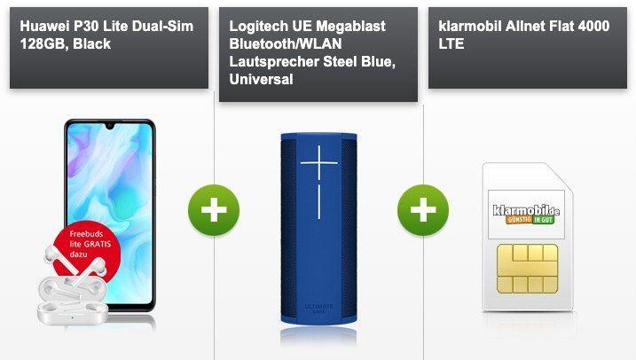 Huawei P30 lite + UE Megablast für nur 4,95€ + Vodafone Allnet Flat mit 4GB LTE für 24,99€ mtl. + gratis Freebuds (Wert 85€)