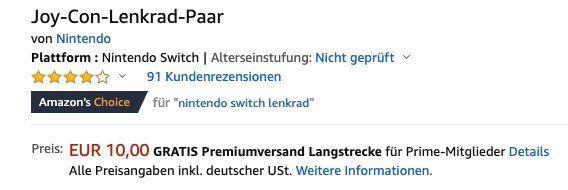 Nintendo Switch Joy Con Lenkrad Paar ab 10€ (statt 16)