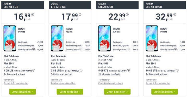 Huawei P30 Lite + Gratis Freebuds für 49,99€   z.B. mit Allnet Flat mit 3GB LTE im O2 Netz für 17,99€ mtl.
