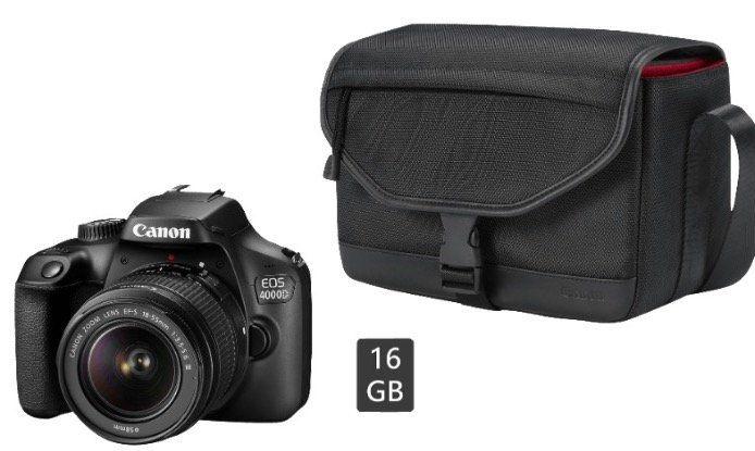 Canon EOS 4000D + 18 55mm Objektiv + Tasche + Speicherkarte für 199€ (statt 281€)