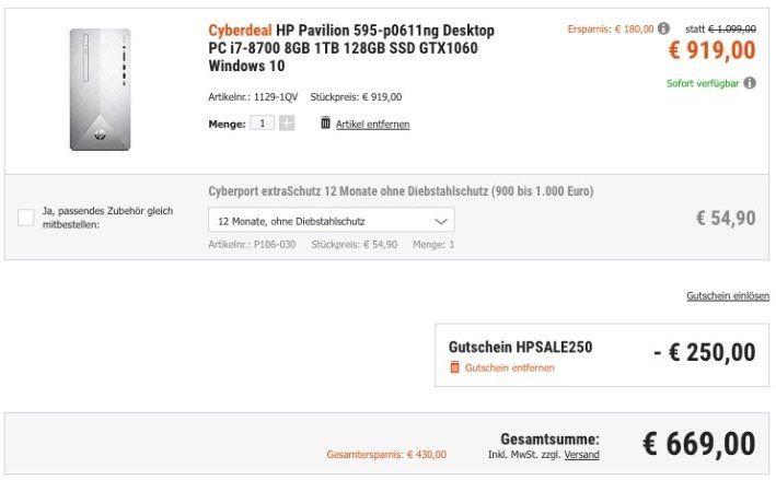 🔥 HP Pavilion Desktop PC mit Core i7, 8GB, 1TB mit 128GB SSD, GTX1060 und Win10 für 669€ (statt 888€)