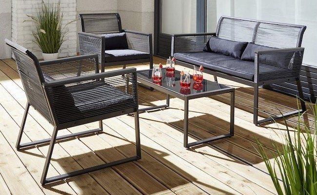 Top! Loungegarnitur Tina 11 teilig (Sitzbank, 2 Stühle, Tisch mit Glasplatte) für 111,75€