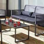 Loungegarnitur Tina 11-teilig (Sitzbank, 2 Stühle, Tisch mit Glasplatte) für 150,52€