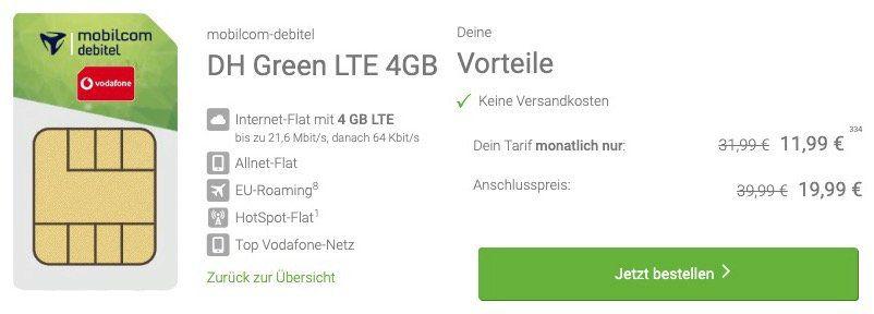 Vodafone Allnet Flat von mobilcom mit 4GB LTE für 11,99€ mtl.