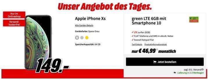 Apple iPhone XS für 149€ mit Vodafone Allnet Flat, SMS und 6GB LTE für 46,99€ monatlich