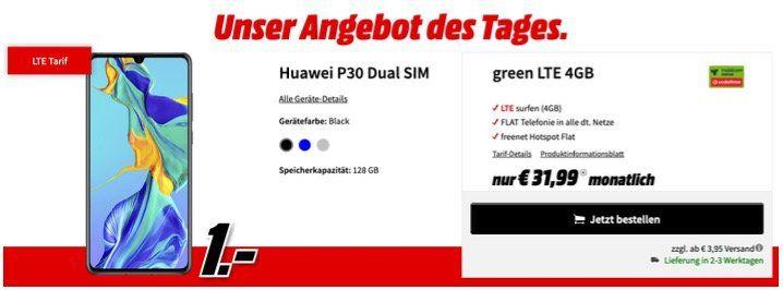 Huawei P30 DualSIM für 1€ mit Vodafone Allnet Flat und 4GB LTE für 31,99€ monatlich