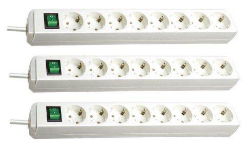 3er Pack Brennenstuhl Eco Line Steckdosenleiste mit Schalter 8 fach für 19,87€(statt 25€)