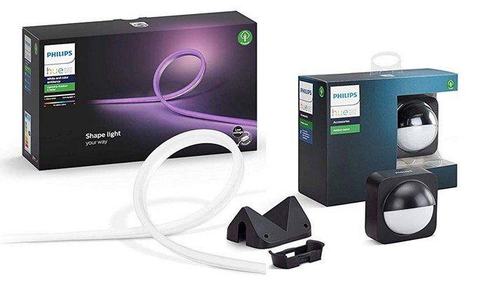 PHILIPS Hue White and Color Ambiance LED Streifen 16 Mio Farben + Outdoor Sensor für 154,75€ (statt 179€)