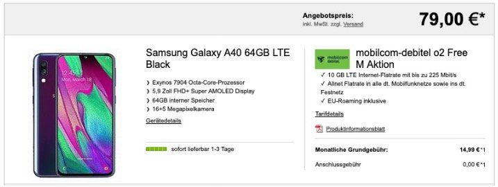 O2 Free M mit 10GB LTE für 14,99€ mtl.   dazu Smartphones ab 19€ einmalig