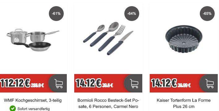 Küchenzubehör bei TOP12   z.B. Tefal 28cm Ceramic Control Induktionspfanne für 24,24€ (statt 38€)