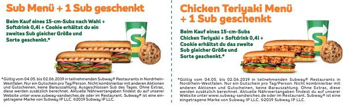 Subway Gutscheine z.B. Sub Menü mit 1 Sub Gratis   oder große Cola zu verschiedenen Wraps