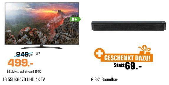 LG 55 4K Fernseher + LG SK1 Soundbar für 538,90€ (statt 641€)