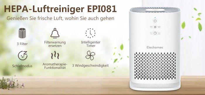 Elechomes Luftreiniger EPI081 mit HEPA Filter z.B. für Allergiker im Schlafzimmer für 60,99€ (statt 90€)