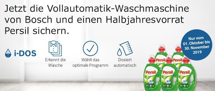 Bosch WAT28640 Waschmaschine mit 8kg und A+++ ab 499€ (statt 591€) + gratis 5 Flaschen Persil